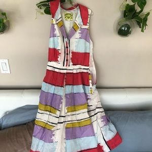 Vintage Striped A-Line Sleeveless Shirt Dress